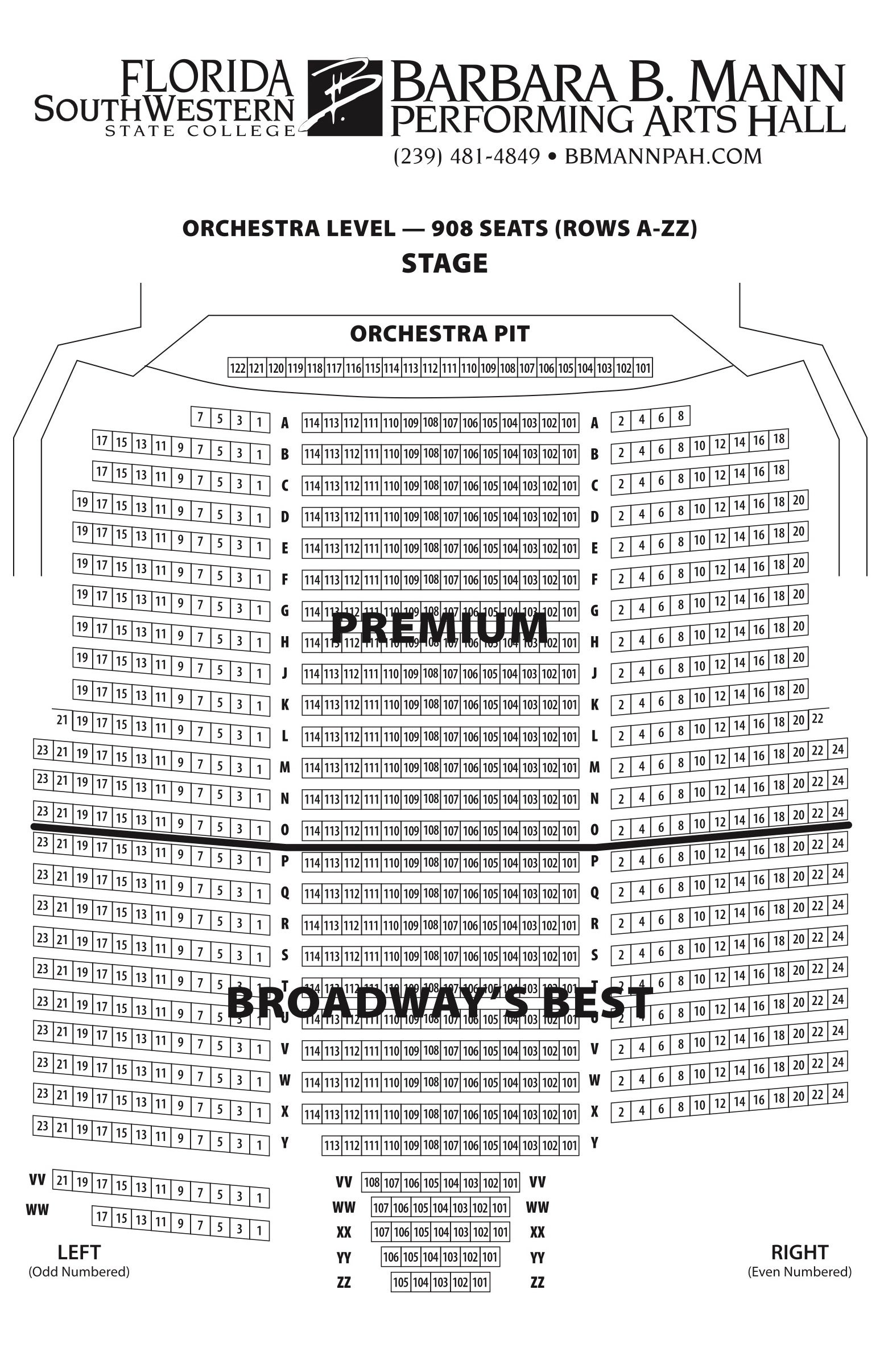 Seating Charts Barbara B Mann Performing Arts Hall Black Box Theatre Diagram Ucf View Large Map Download